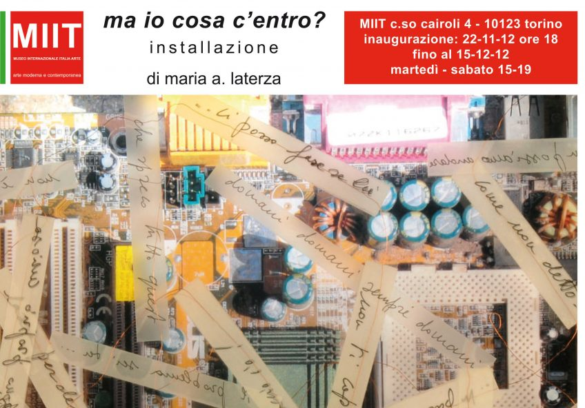 'MARIA AUSILIATRICE LATERZA: MA IO COSA C'ENTRO?' – DAL 22-11-2012 AL 15-12-2012