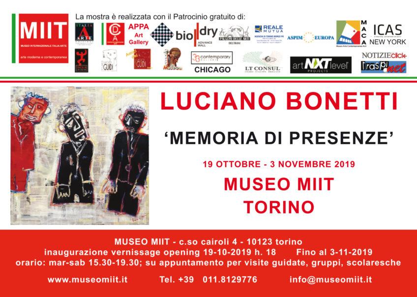 'LUCIANO BONETTI. MEMORIA DI PRESENZE' – MUSEO MIIT – DAL 19 OTTOBRE AL 3 NOVEMBRE 2019