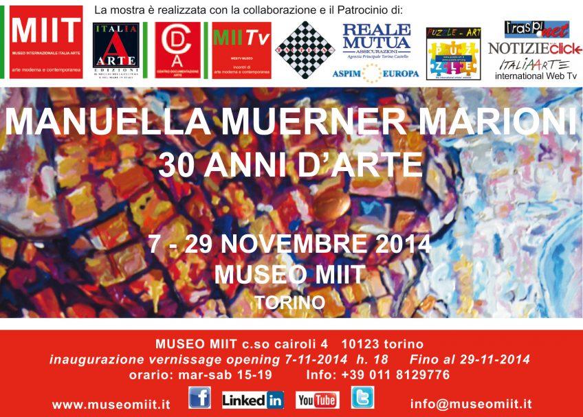 'MANUELLA MUERNER MARIONI – 30 ANNI D'ARTE' -DAL 7 AL 29 NOVEMBRE 2014′