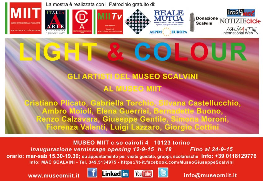 'LIGHT & COLOUR' – DAL 12 SETTEMBRE – AL 10 OTTOBRE 2015