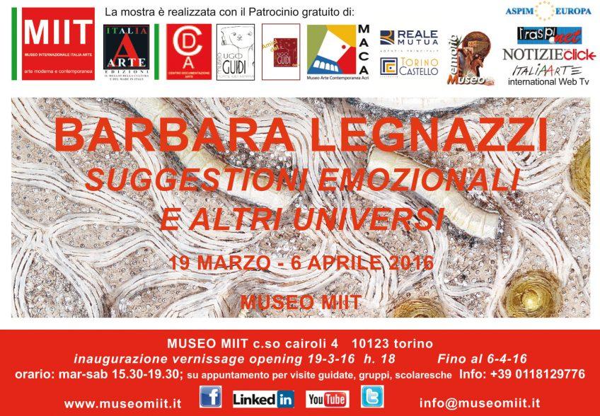 'BARBARA LEGNAZZI' – DAL 19  MARZO AL 6 APRILE