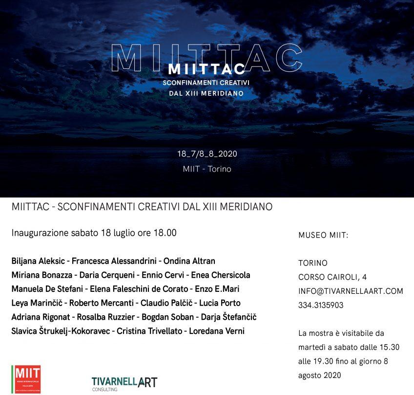 'MIITTAC. SCONFINAMENTI CREATIVI DAL XIII MERIDIANO' – DAL 18 LUGLIO ALL' 8 AGOSTO 2020